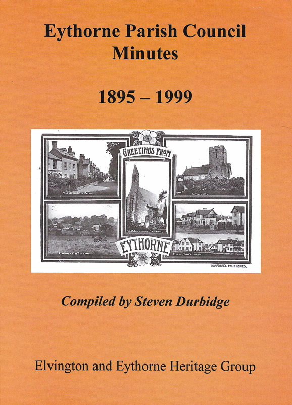 Cover of book compiling minutes from eythorne parish council from 1895 to 1999